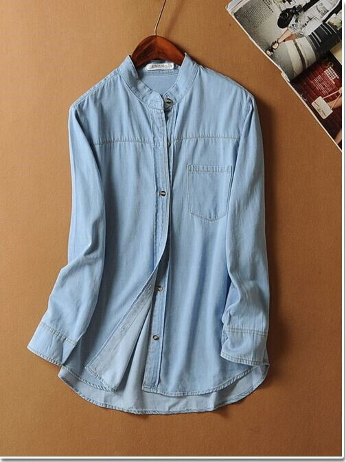 Fashion women elegant blue Denim stand collar pocket ...