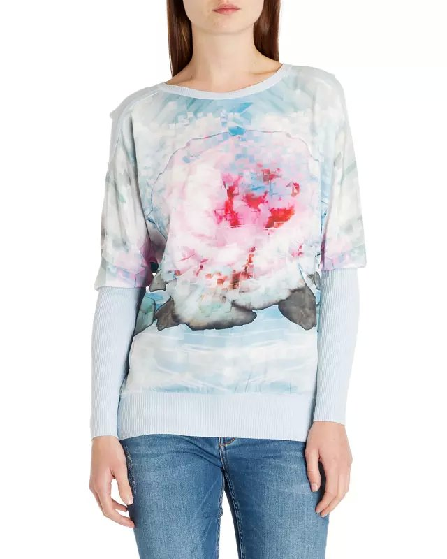 Fashion women elegant blue floral print Knitted patchwork ...