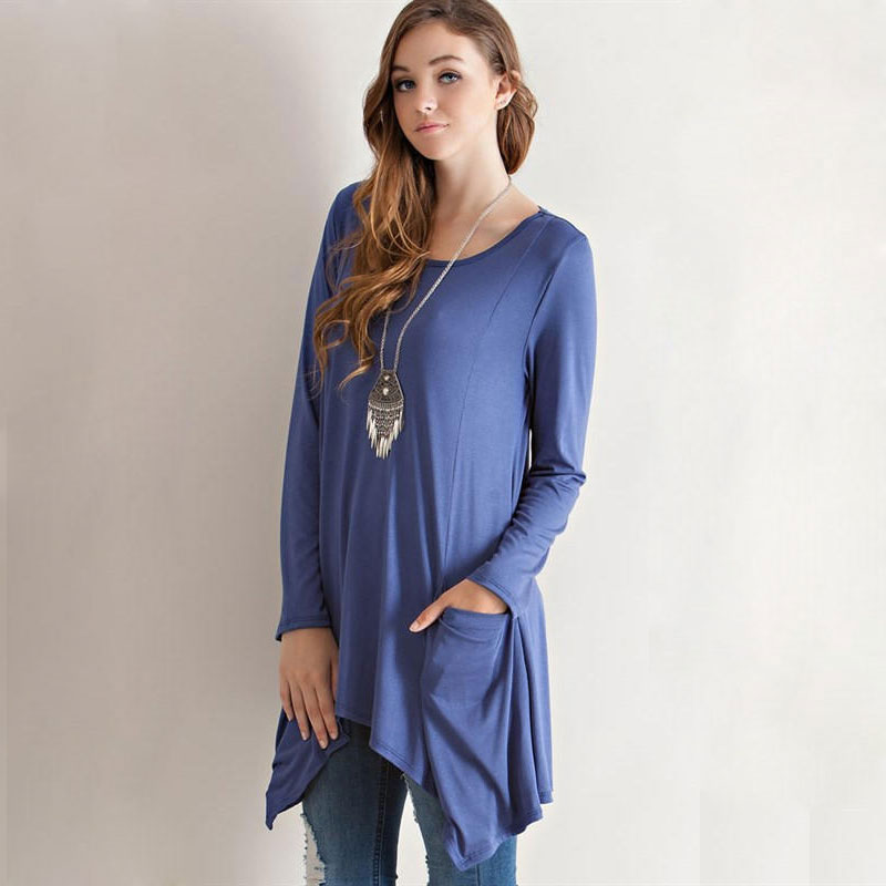 Fashion women Elegant blue pocket Irregular long T-shirt ...