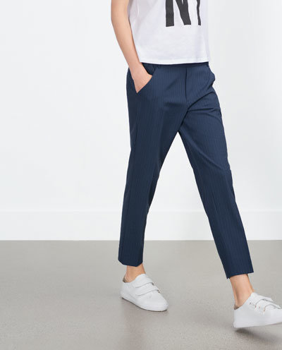 Fashion Women Elegant blue Striped Print Pants Elastic ...