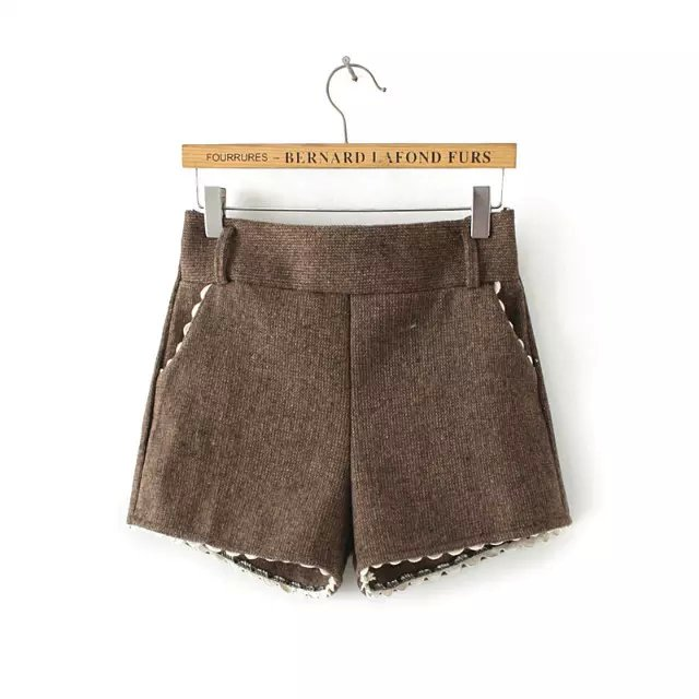 Fashion Women Elegant brown lace woolen shorts Elastic ...