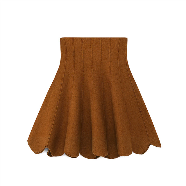 Fashion women elegant brown Ruffles Pleated Sexy Mini ...