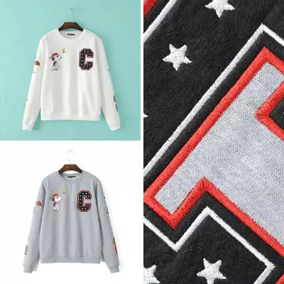Fashion women elegant Cartoon Print Embroidery sports ...
