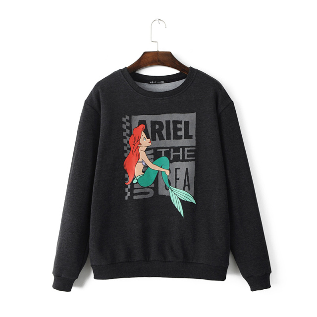 Fashion women elegant Cartoon Print sports pullover ...