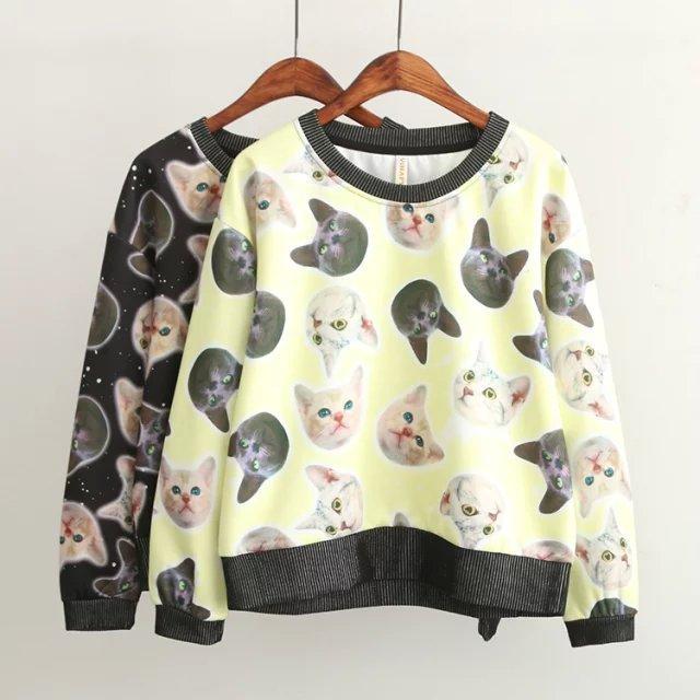 Fashion women elegant Cat print sports pullover sweatshirts ...