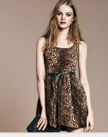 Fashion Women elegant chiffon sexy Leopard print mini ...