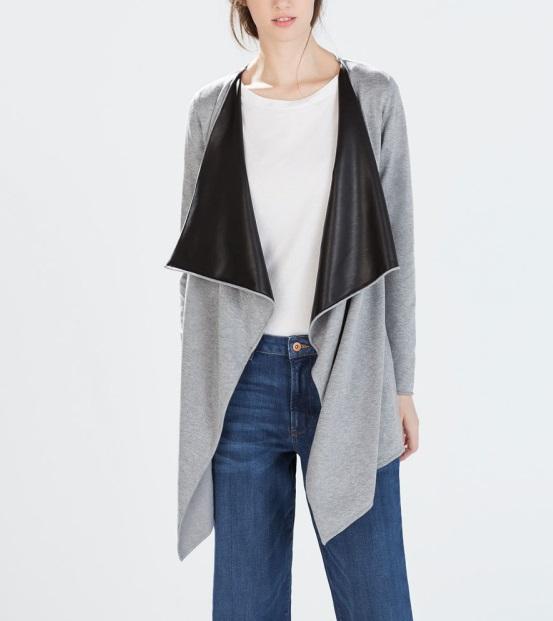 Fashion Women Elegant Collar Patchwork Faux Leather ...