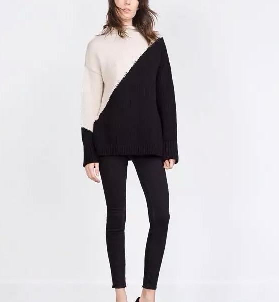 Fashion women elegant Color Blocking pullover knitwear ...