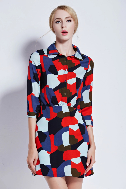 Fashion Women Elegant Color print Dress Three Quarter ...