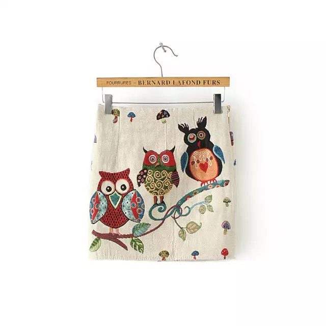 Fashion Women Elegant cute white Owl Print Zipper mini ...