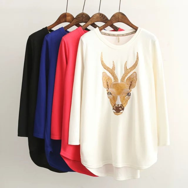 Fashion women elegant Deer Embroidery long pullover ...