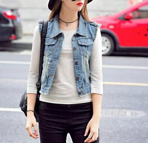 Fashion women elegant Denim Ripped short vest Jacket ...