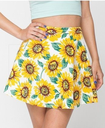 Fashion Women Elegant Denim Sunflower print Mini pleated ...