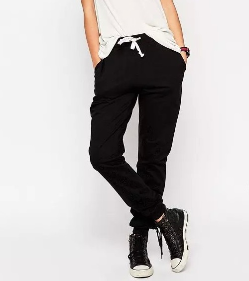 Fashion women Elegant elastic waist harem Black sport ...