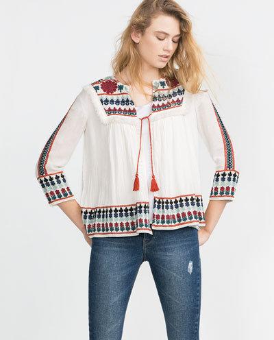 Fashion women elegant Embroidery floral coat Tassel ...