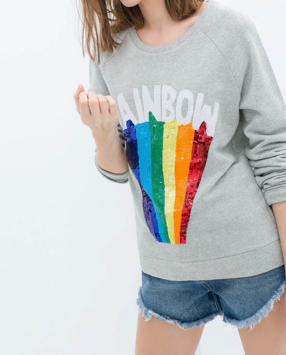 Fashion women elegant Embroidery Sequins rainbow sports ...