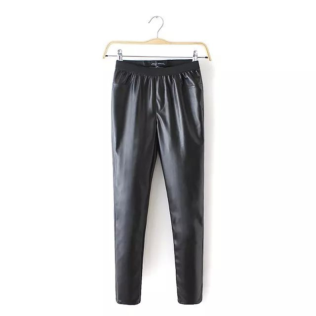 Fashion women Elegant Faux leather Black pants leisure ...
