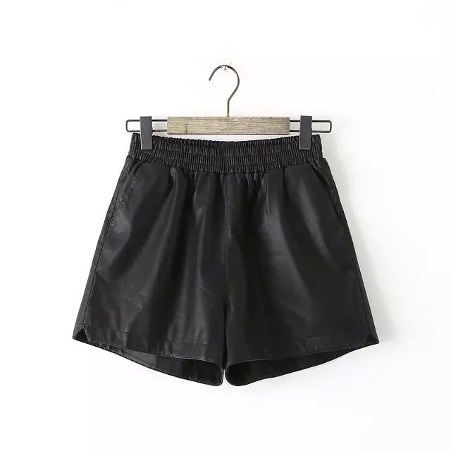 Fashion women elegant Faux leather black shorts elastic ...