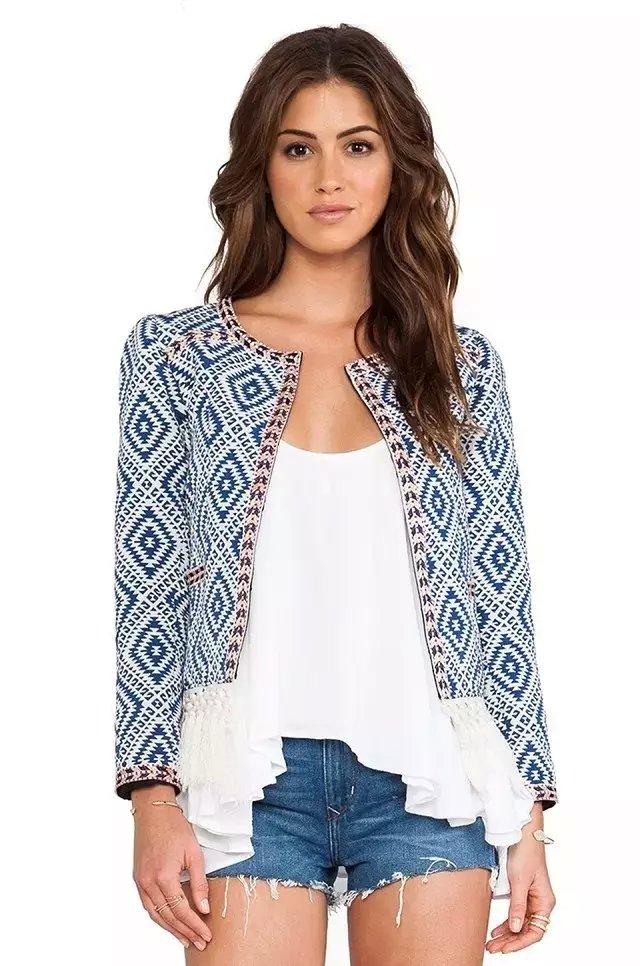 Fashion women elegant Geometric print coat outwear tassel ...