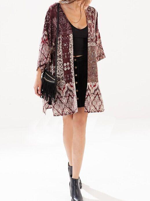Fashion Women elegant Geometric print Kimono outwear ...