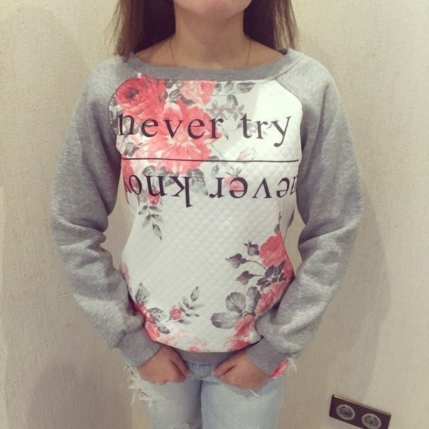Fashion Women elegant gray Ink Floral Letter Print pullover ...