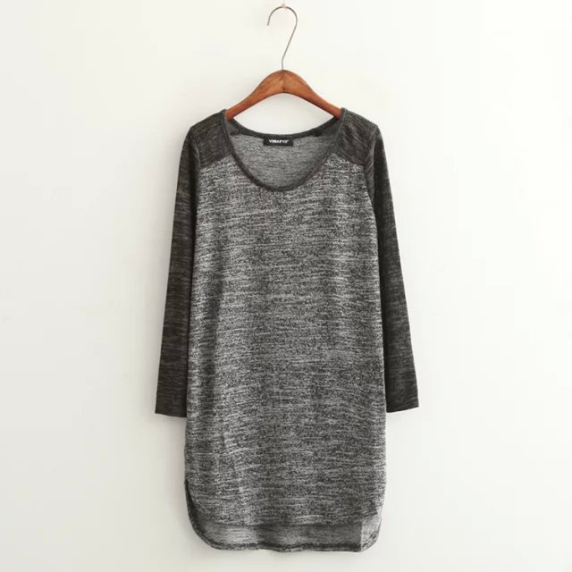 Fashion Women Elegant Gray Knitted long T-Shirt Casual ...