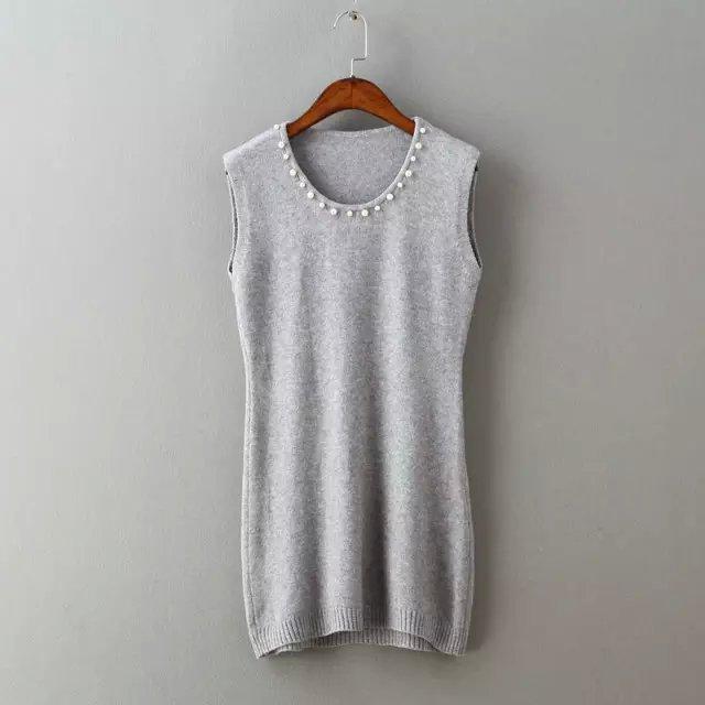 Fashion Women Elegant gray knitted pearl mini Dress ...