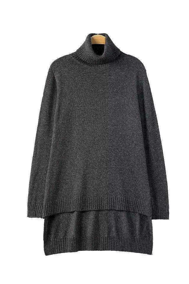 Fashion women elegant Gray pullover knitwear Casual ...