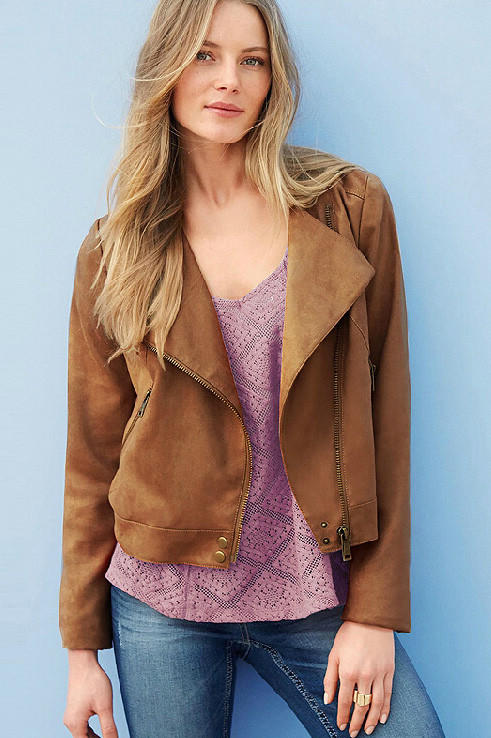 Fashion Women Elegant khaki Suede Leather Jacket Zipper ...