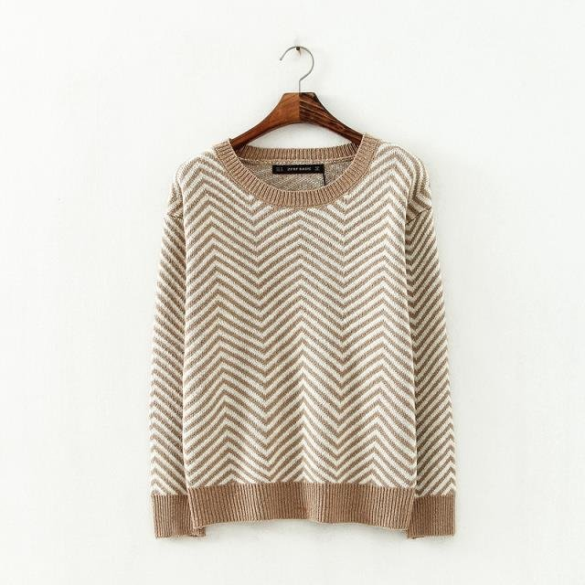 Fashion women elegant Khaki wave pattern Pullover knitwear ...