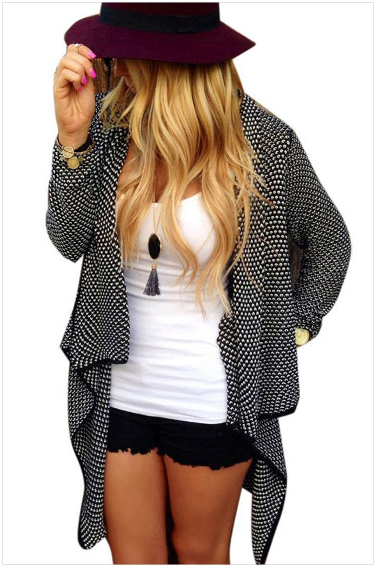 Fashion Women Elegant Knitted Cardigan Long Sleeve Irregular ...