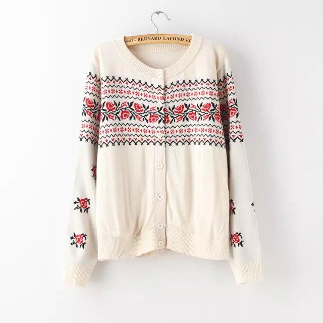 Fashion Women Elegant Knitted Geometric print Cardigan ...