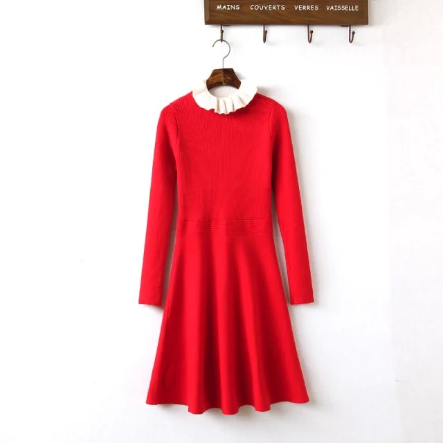 Fashion Women elegant Korean style sweet red knitted ...