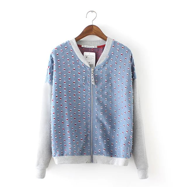 Fashion women elegant Light blue denim Jacket Embroidery ...