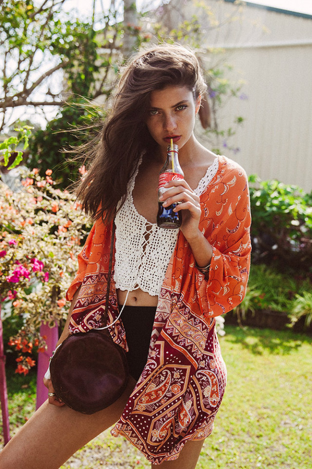 Fashion Women elegant Orange Paisley print Kimono outwear ...