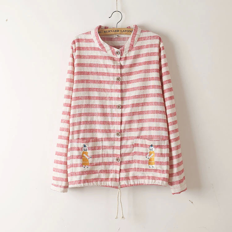 Fashion women elegant Pink striped print button Cartoon ...
