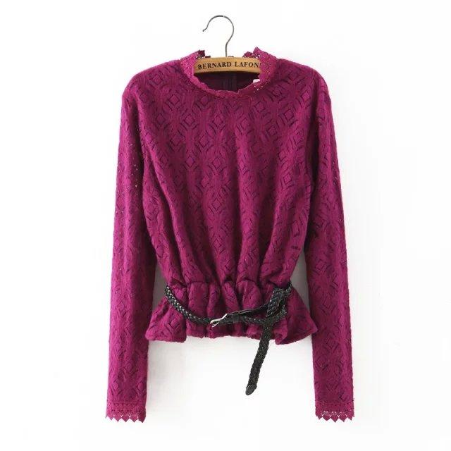 Fashion Women elegant purple lace thick hollow out short ...
