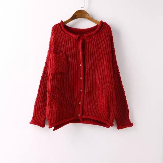 Fashion Women Elegant Red Knitted Cardigan long Sleeve ...