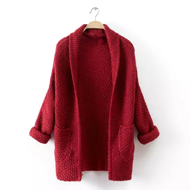 Fashion women elegant Red Knitted Turn-down collar cardigan ...