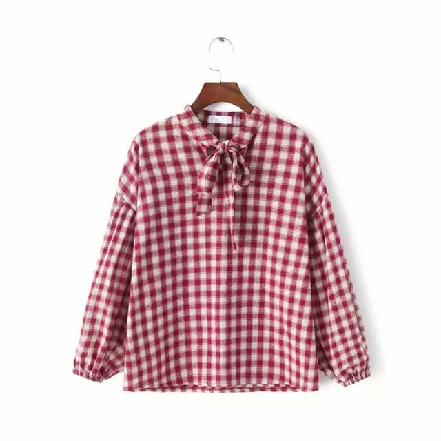 Fashion women elegant school style sweet red plaid print ...