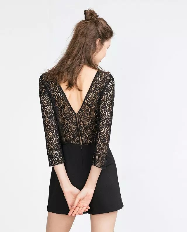 Fashion Women Elegant sexy black lace patchwork backless ...
