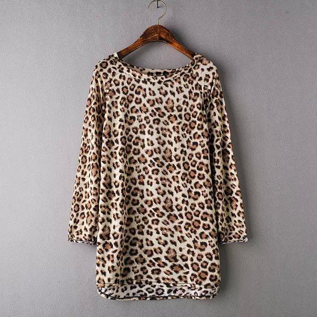 Fashion Women elegant sexy leopard print blouses vintage ...