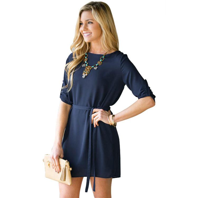 Fashion Women Elegant shirts Dresses With Belt Office ...