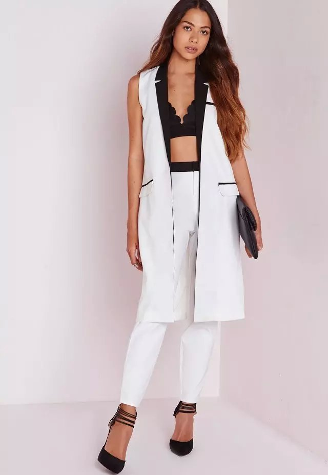 Fashion women Elegant Sleeveless pocket white jackets ...