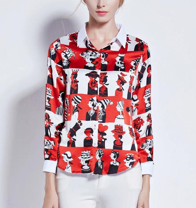 Fashion women elegant striped Cartoon print blouses ...