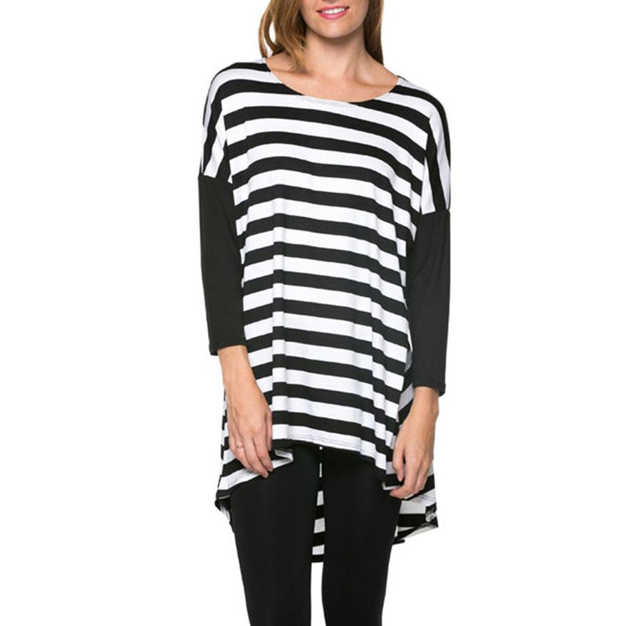 Fashion women Elegant striped Print Irregular T-shirt ...