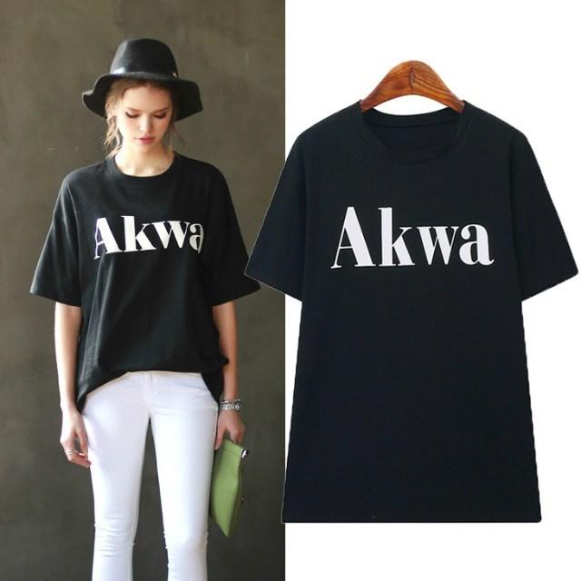 Fashion women Elegant stylish letter print black T-shirt ...
