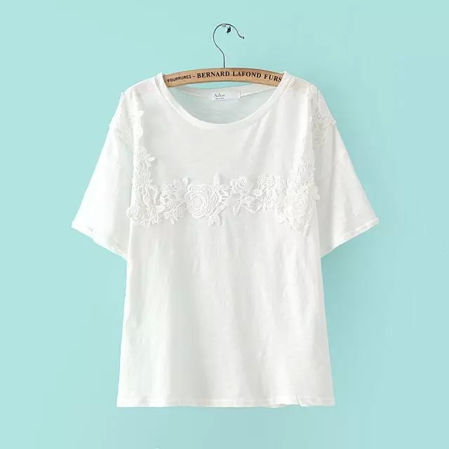 Fashion Women elegant sweet Lace Patchwork White cotton ...