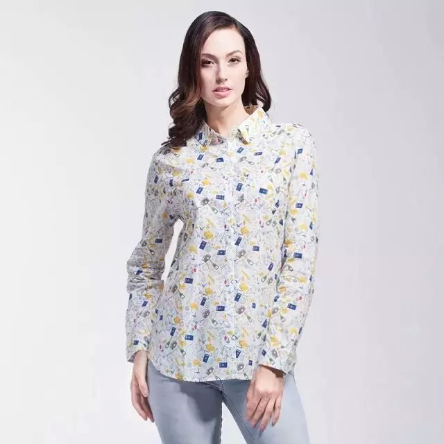 Fashion Women elegant Tower camera print blouses button ...