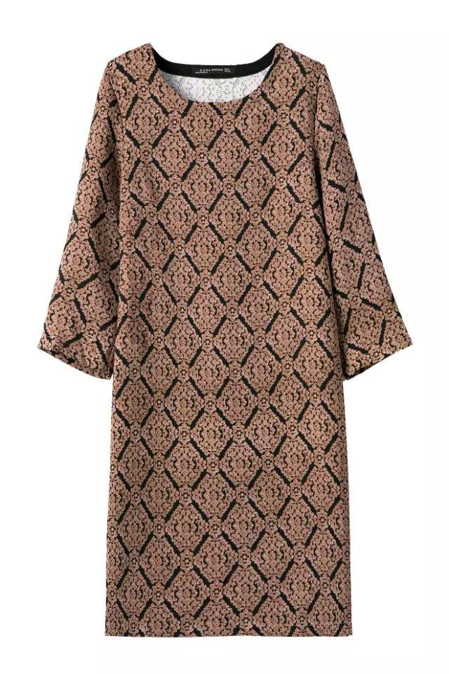 Fashion women elegant vintage brown Plaid print Dresses ...